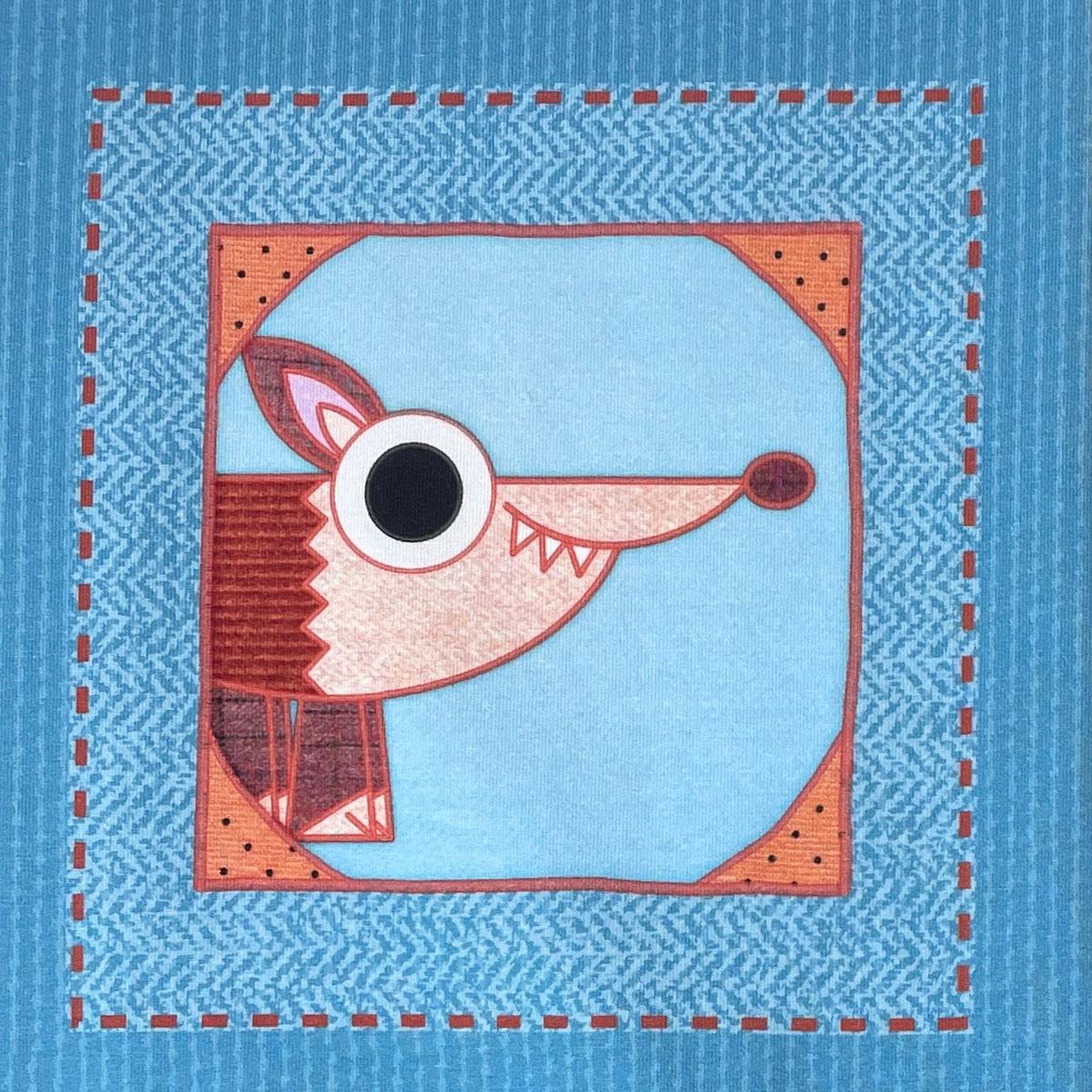 """Jersey Panel Fuchs blau """"meine Schmusedecke"""" Stückware"""