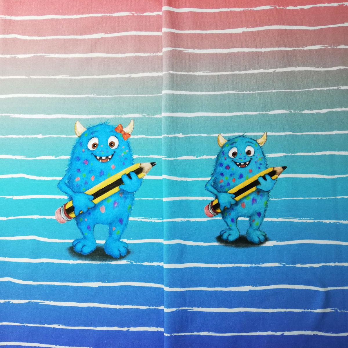 """Jersey Panel Monster """"Hallo Schule/KiTa"""" Mädchen Stückware"""