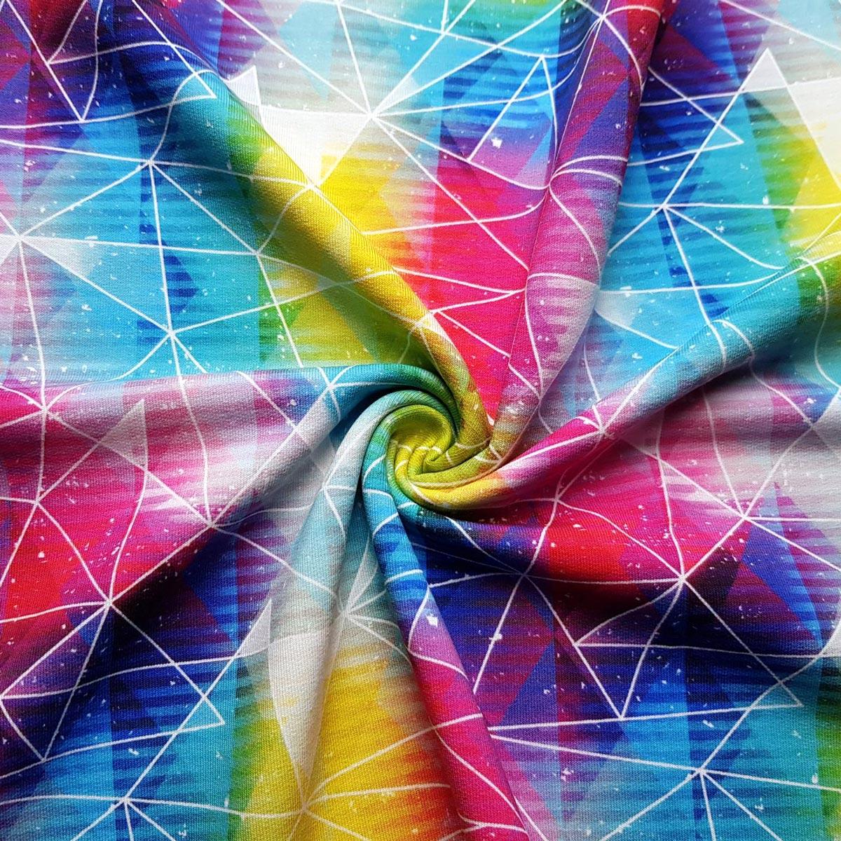 """Sommersweat  Polygone """"Rainbow"""" Meterware"""