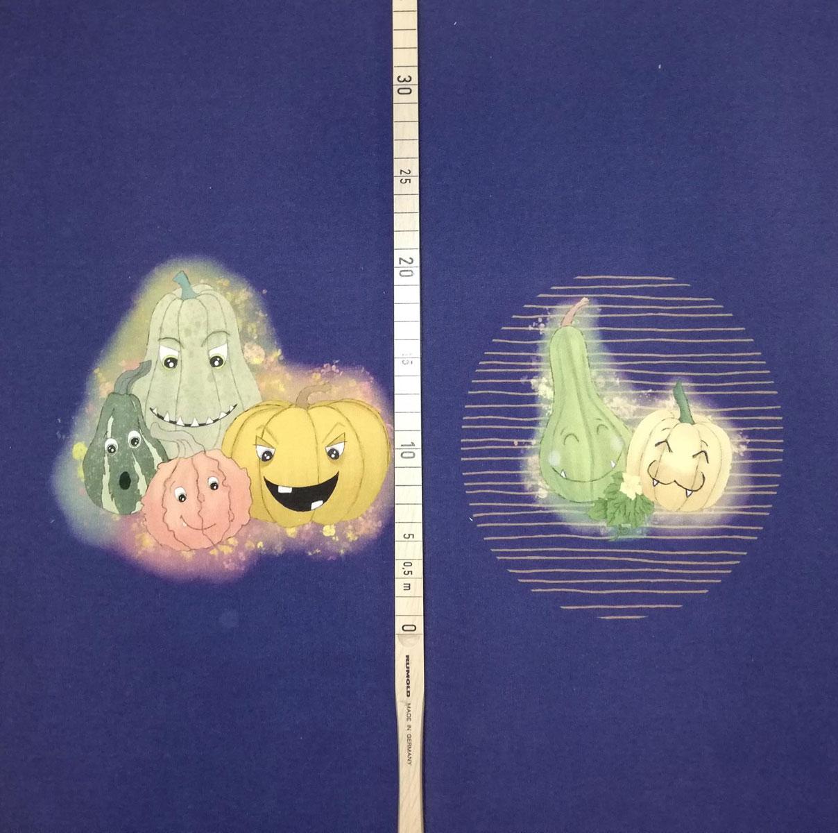 "Frenchterry Panel ""Funny Pumpkins"" blau Stückware"