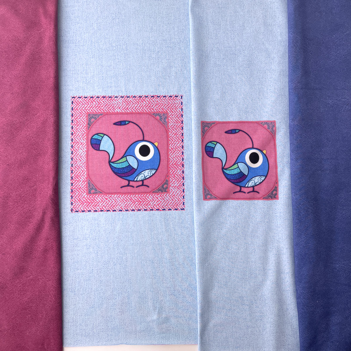 "Jersey Panel Vogel hellblau ""meine Schmusedecke"" Stückware"