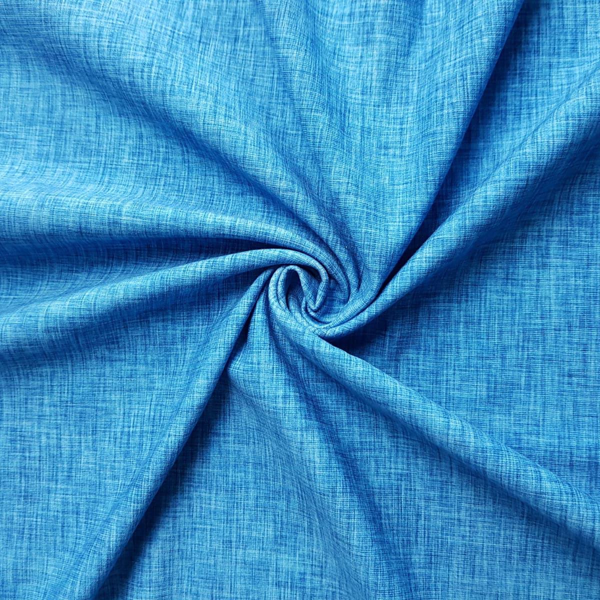 """Sommersweat Leinenprint """"denim blue"""" Meterware"""