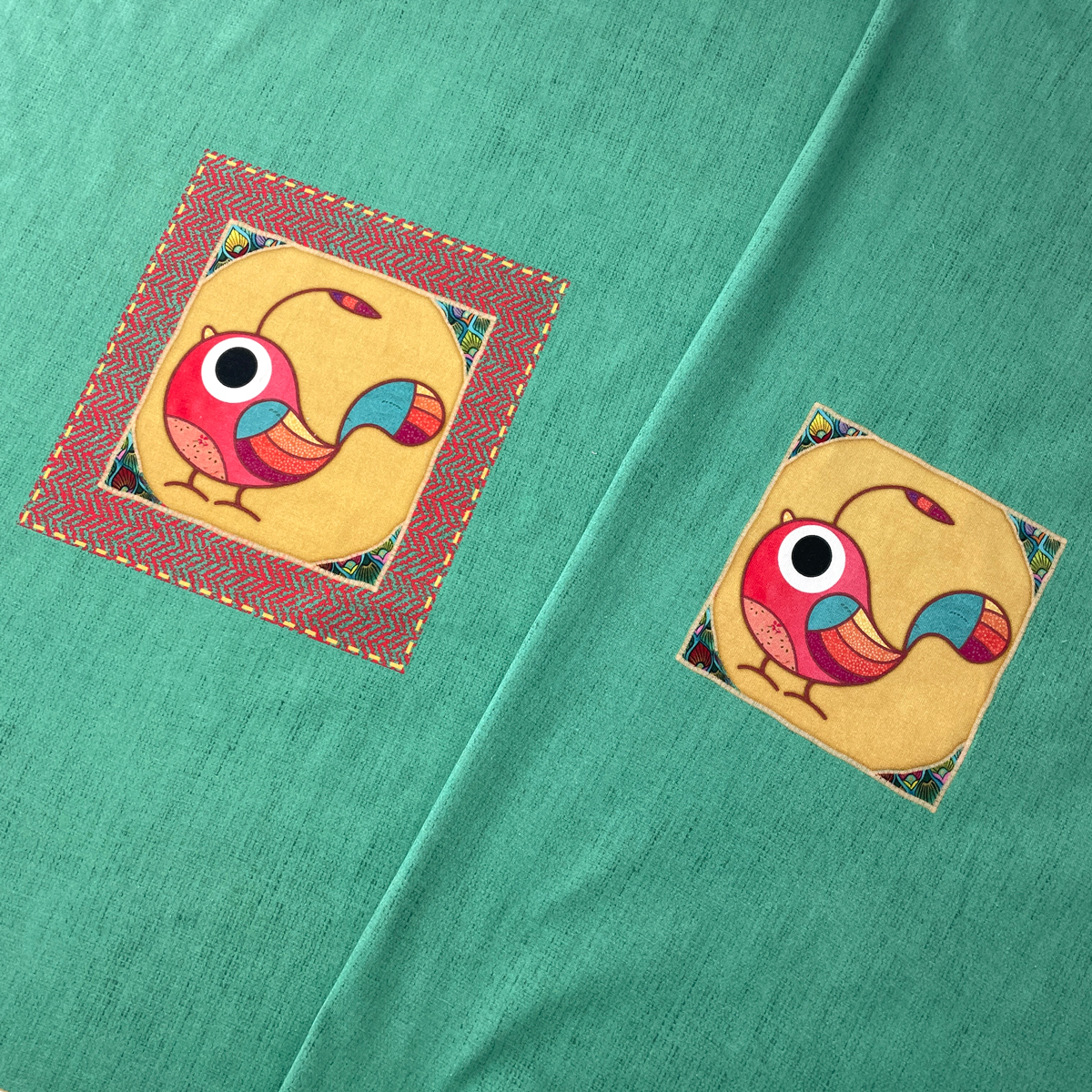 "Jersey Panel Vogel mint ""meine Schmusedecke"" Stückware"