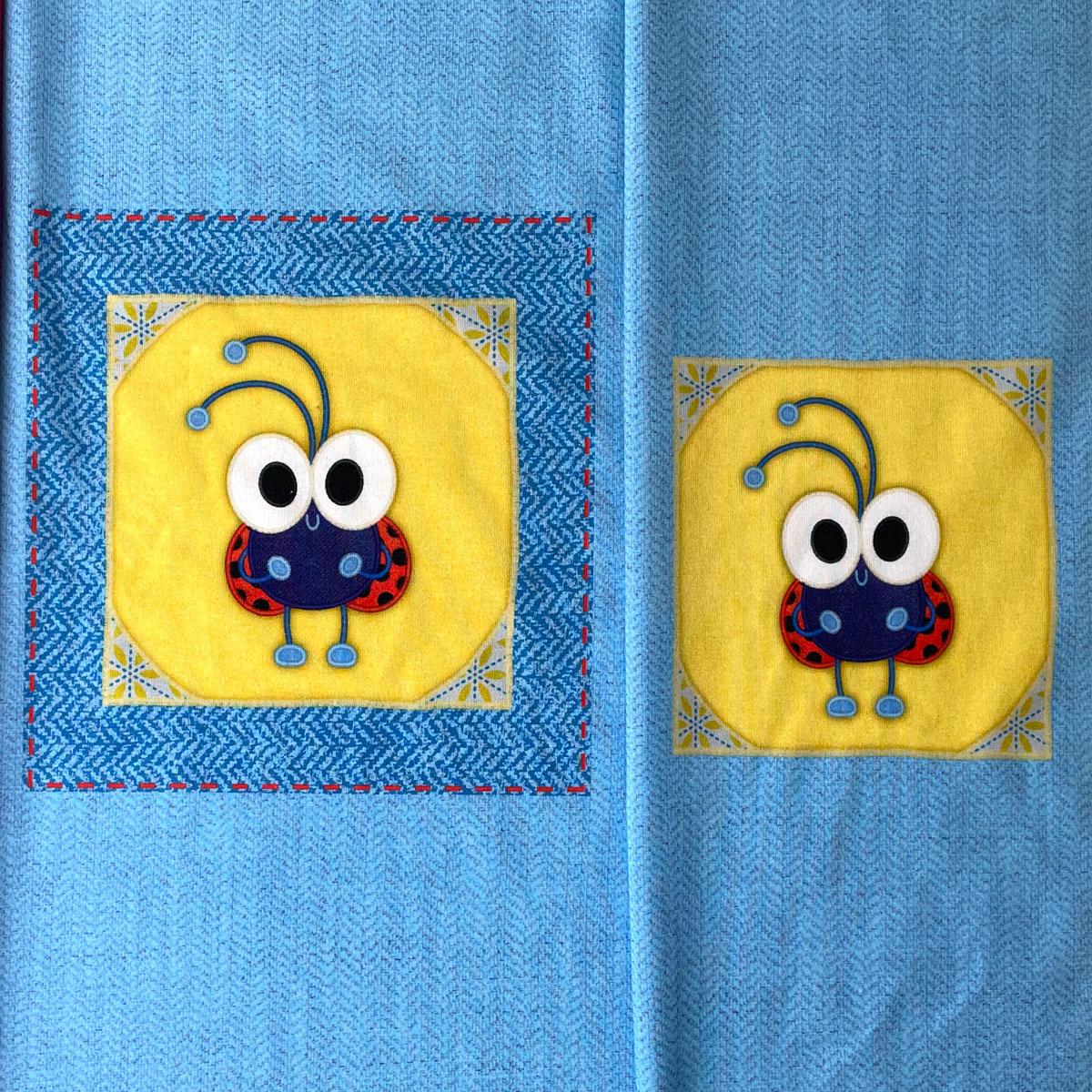 """Jersey Panel Marienkäfer blau """"meine Schmusedecke"""" Stückware"""