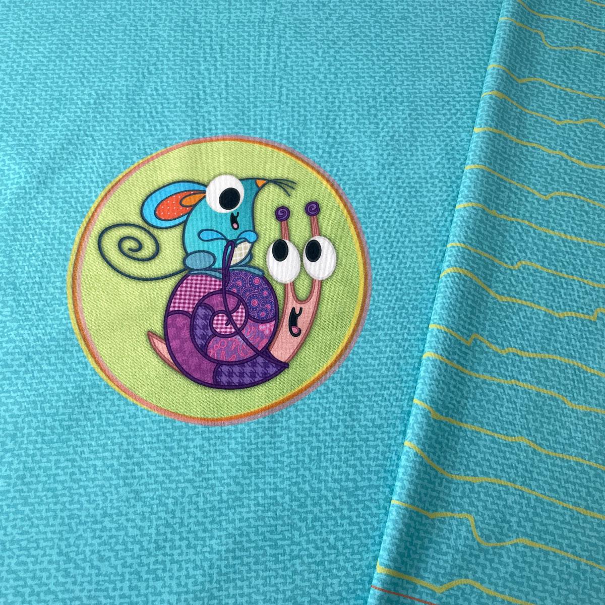 """Jersey Panel Maus & Schnecke blau """"meine Schmusedecke"""" Stückware"""