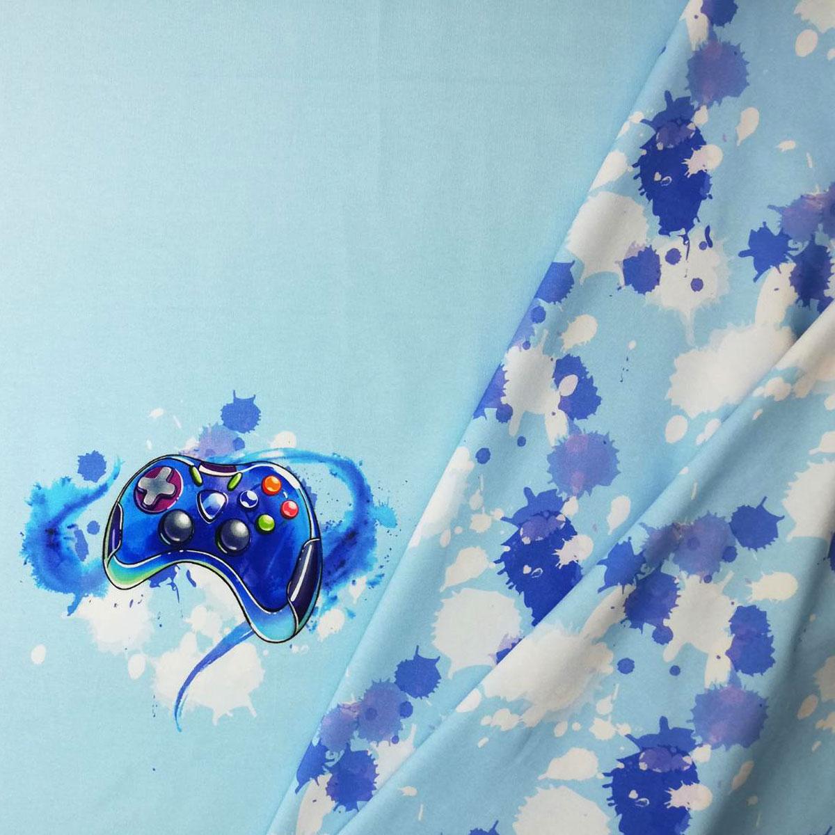 "Jersey Panel ""Gamer Boy"" blau 70cm Stückware"