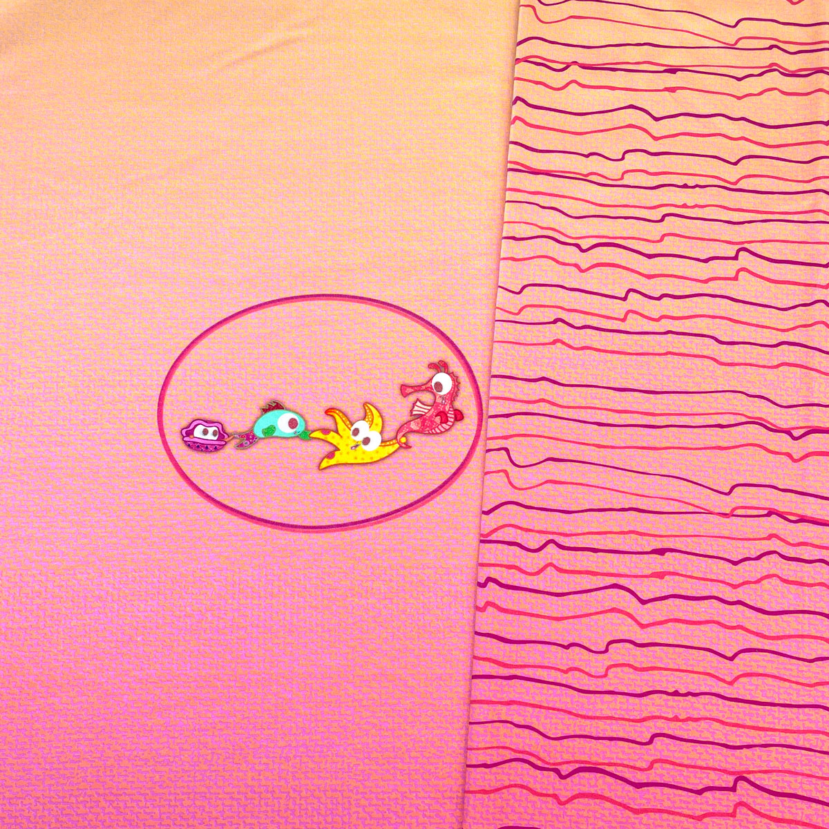 "B-Ware Jersey Panel Unten im Meer pink ""meine Schmusedecke"" Stückware"