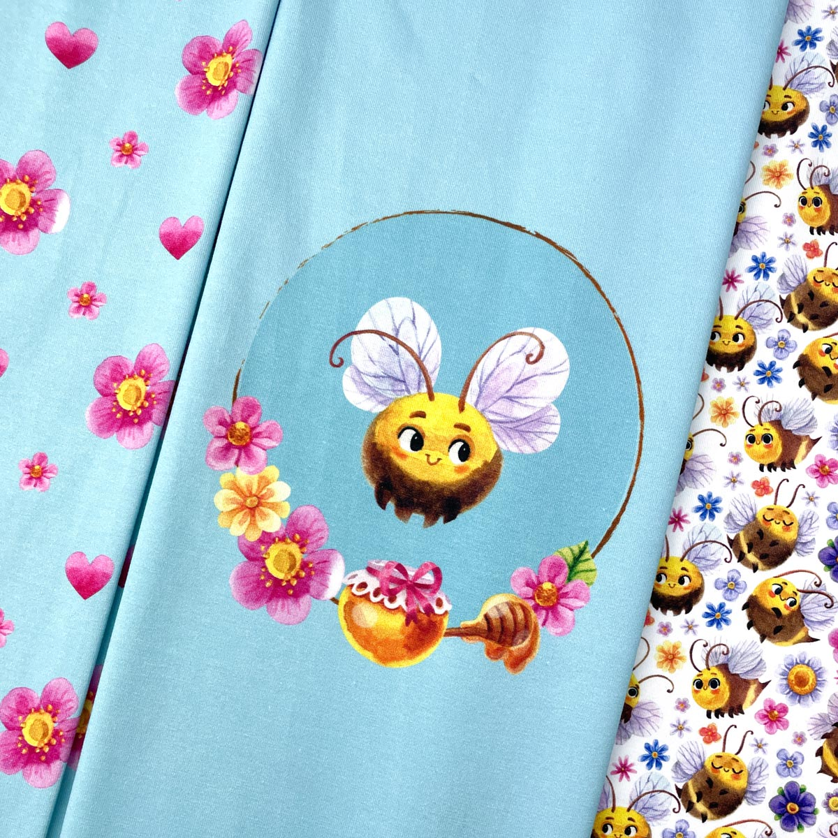 """Jersey Panel Biene """"Little Sweetheart"""" türkis Stückware"""