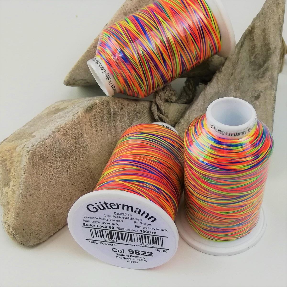 "Gütermann Bauschgarn Bulky-Lock 80 Multicolor ""Rainbow"" 9822, 1000m"