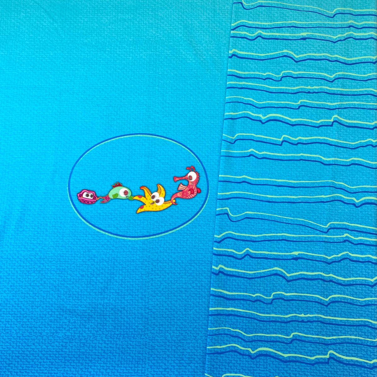 """B-Ware Jersey Panel Unten im Meer blau """"meine Schmusedecke"""" Stückware"""