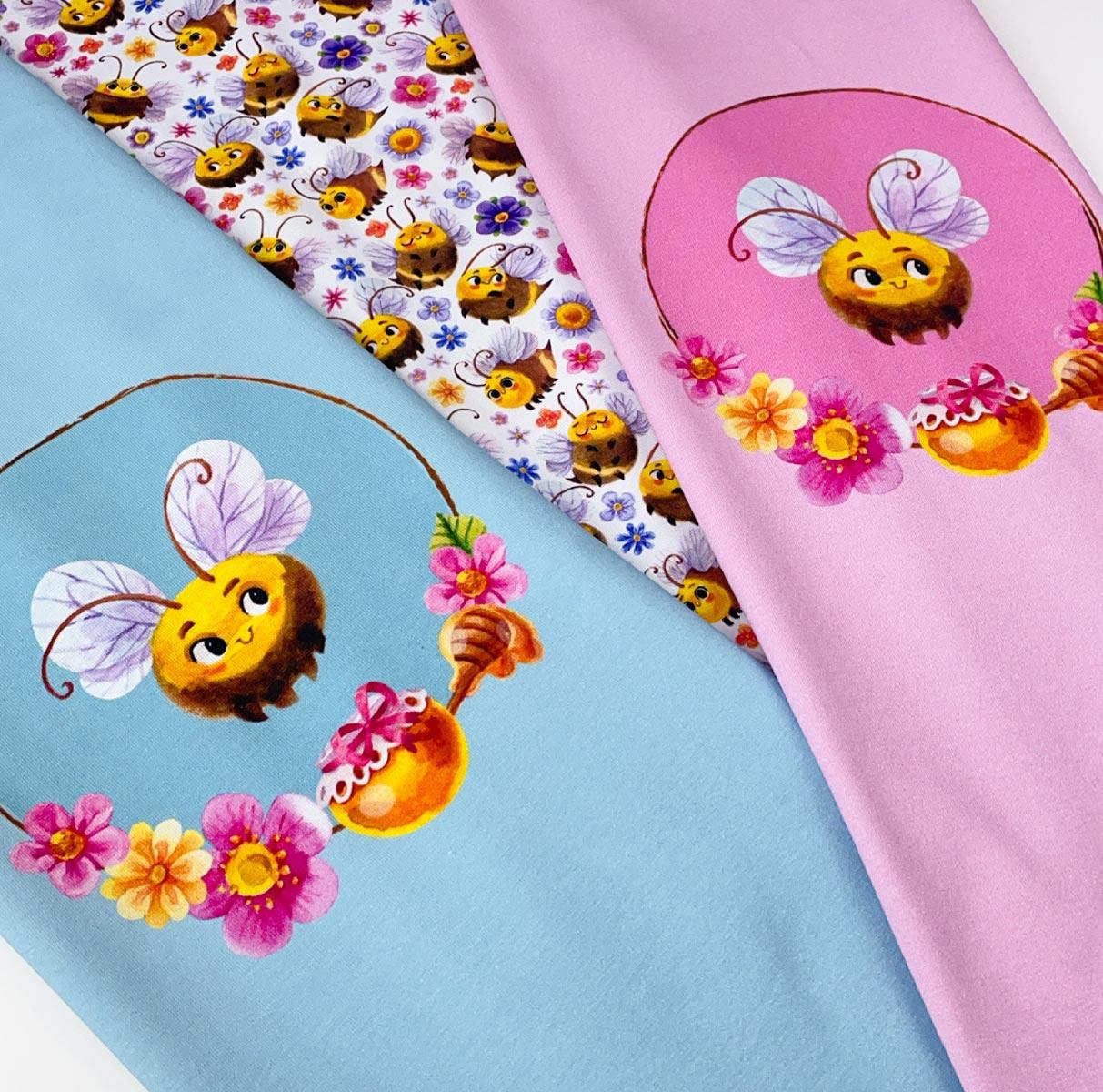 """Jersey Panel Biene """"Little Sweetheart"""" rosa Stückware"""