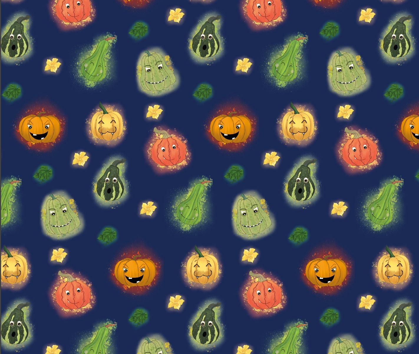 """Frenchterry All over """"Funny Pumpkins"""" blau ohne Streifen Meterware"""
