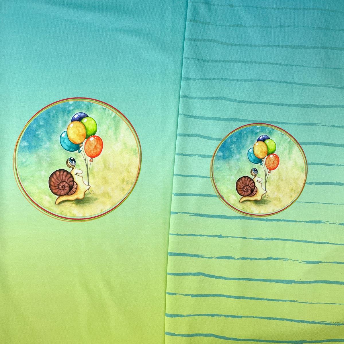 "Jersey Panel Schnecke Murmeline ""Luftballon"" Stückware"