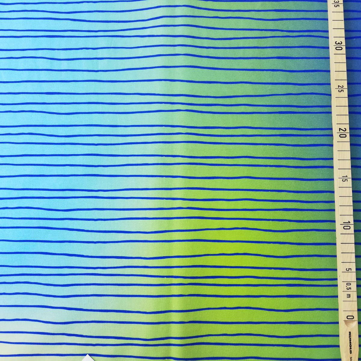 """Jersey Streifen Kritzelkratzel """"blau grün"""" Meterware"""