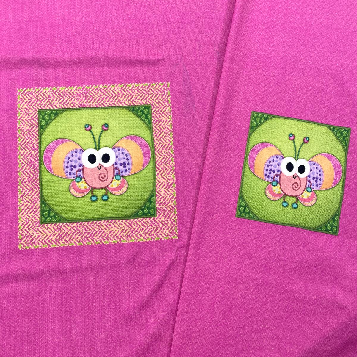"Jersey Panel Schmetterling pink ""meine Schmusedecke"" Stückware"