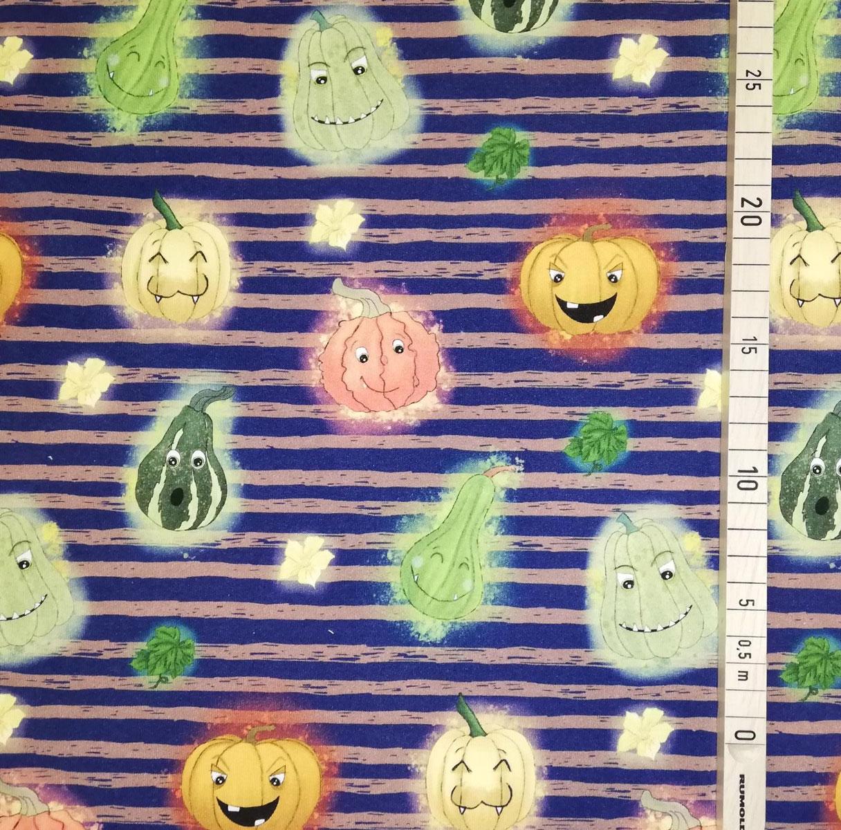 """Frenchterry All over """"Funny Pumpkins"""" blau mit Streifen Meterware"""