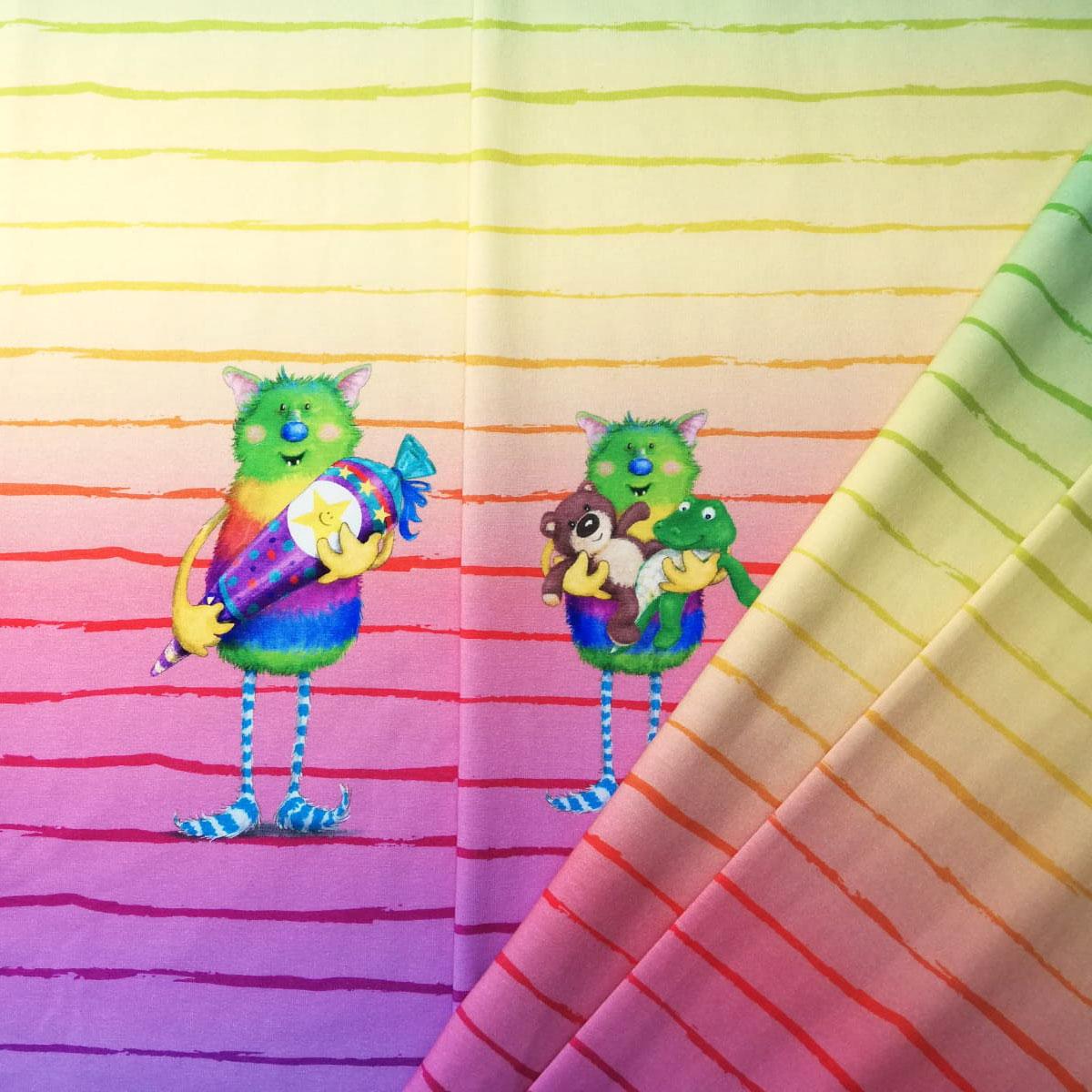 """Jersey Streifen """"Hallo Schule/KiTa"""" Regenbogen Meterware"""