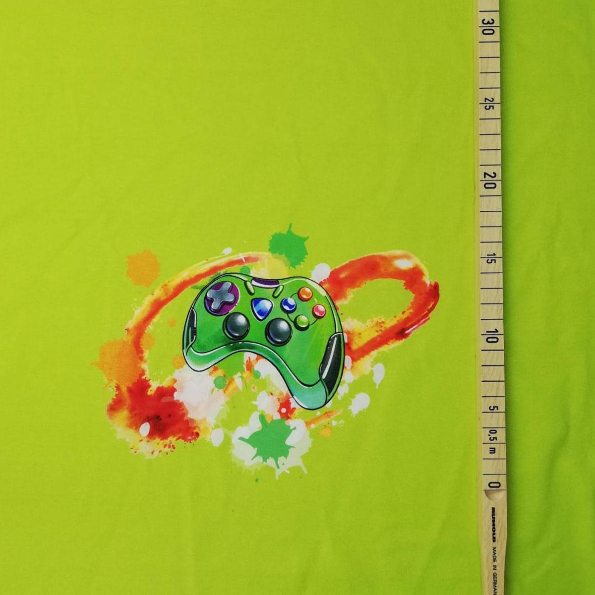 "Jersey Panel ""Gamer Boy"" grün 70cm Stückware"