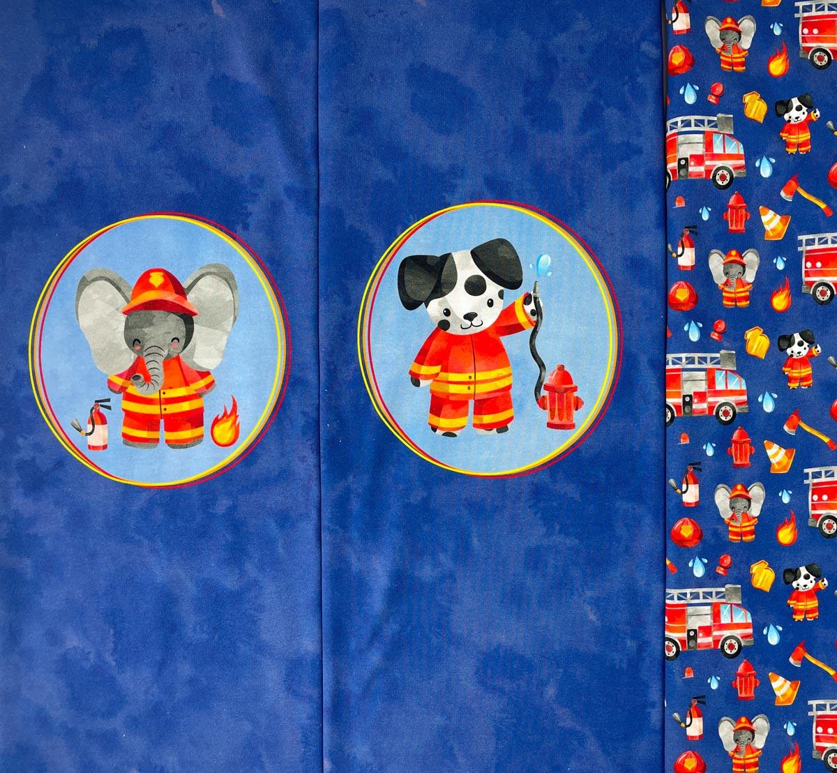 """Jersey Panel """" Tierische Feuerwehr"""" Stückware"""
