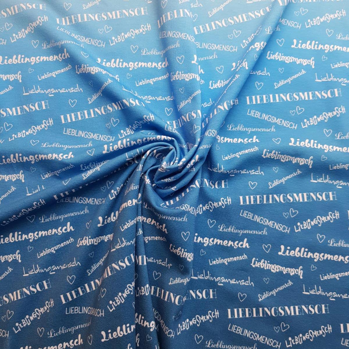 """Jersey """"Lieblingsmensch"""" Blue Winter Meterware"""