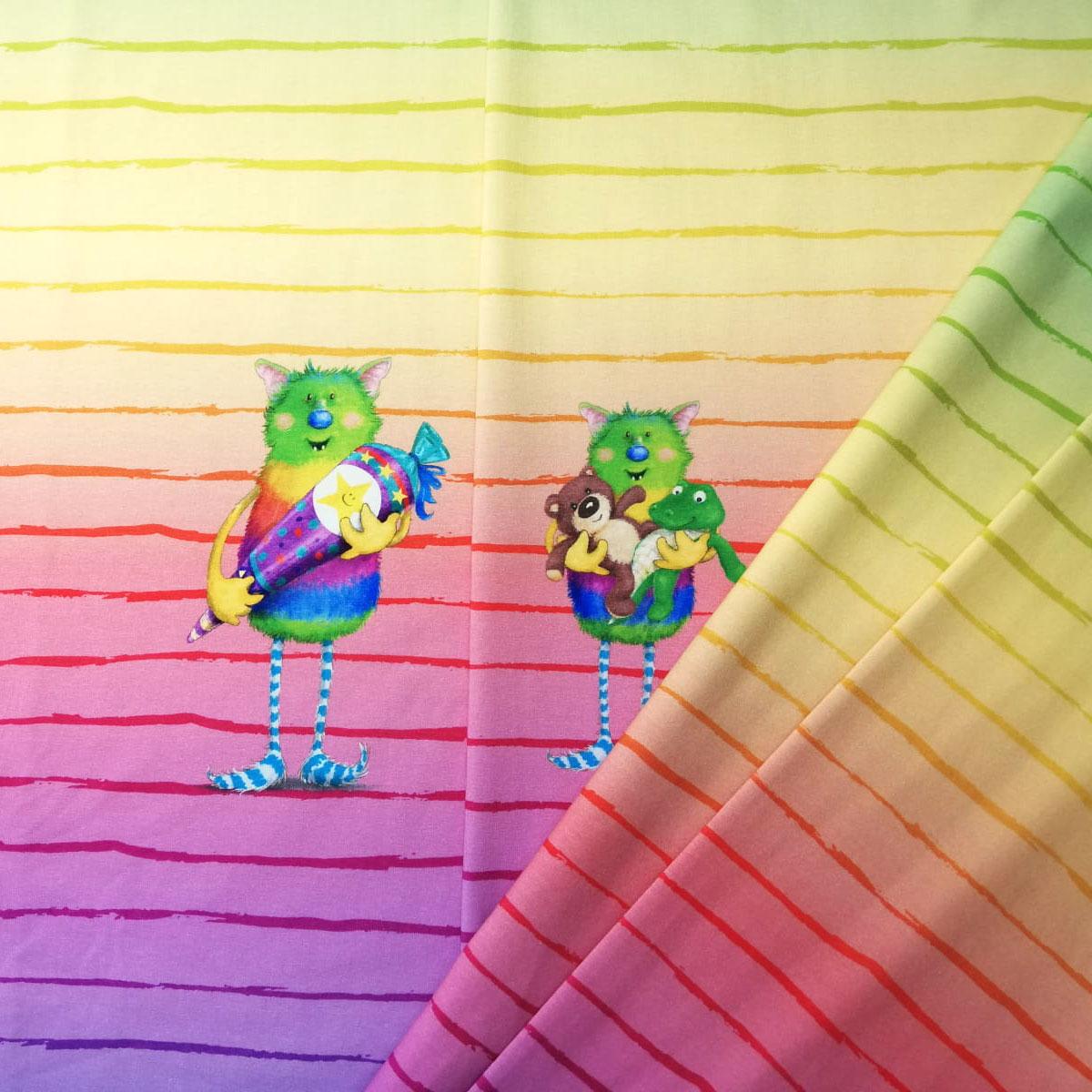 "Jersey Panel Monster ""Hallo Schule/KiTa"" Regenbogen Stückware"